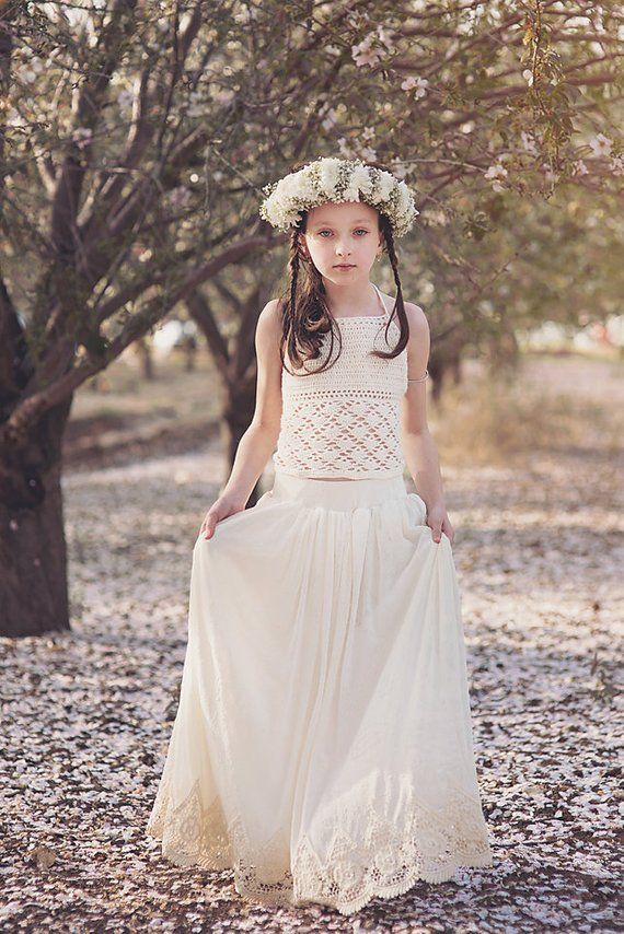 f4ff83519 Boho Crochet Lace Flower Girl Dress