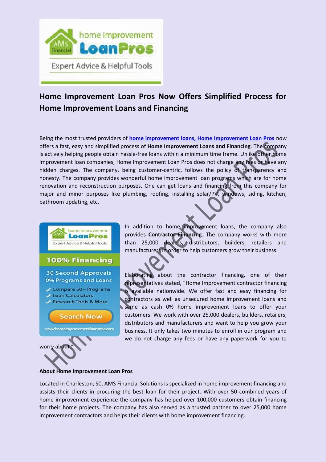 Home Improvement Loan Pros Now Offers Simplified Process For Home Improvement Loans And Financing Press Release For Home Improvement Loan Pro Home Improvem