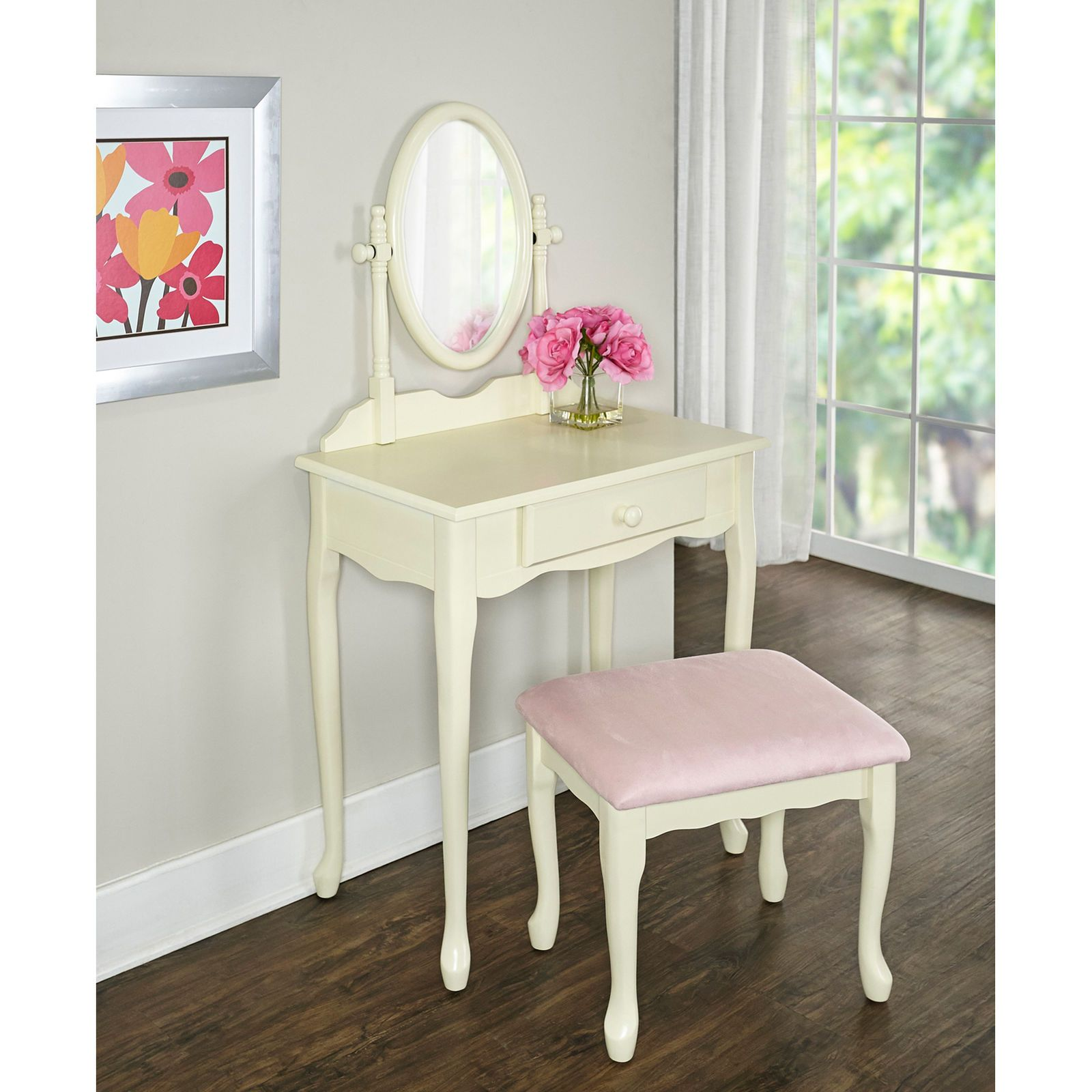 White u pink vanity set poster art worth posting pinterest