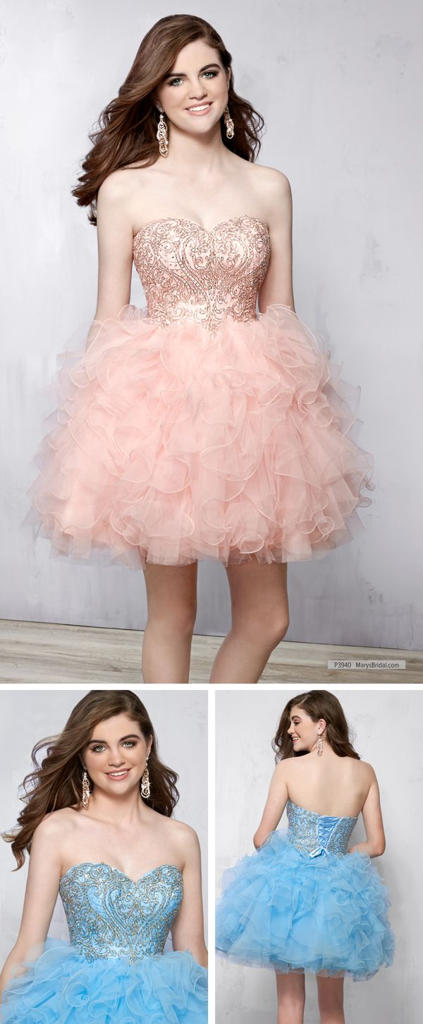 Mary\'s Quinceanera Damas P3940 • Strapless short tulle ball gown for ...