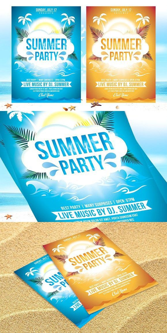 Summer Party Flyer Template v2 Party flyer, Flyer template and