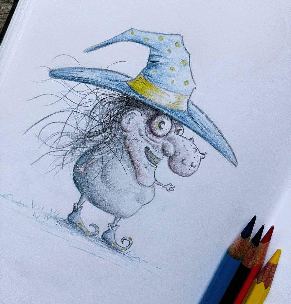 Eine Hexe skizzieren und mit Buntstiften zeichnen. | Malen ...