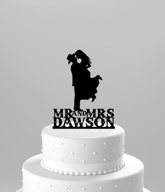 Country Western Wedding Cake Topper Silhouette Cowboy With Hat Both Wearing Boots Personalized Name Choice Of Acrylic Or Wood CT17wn