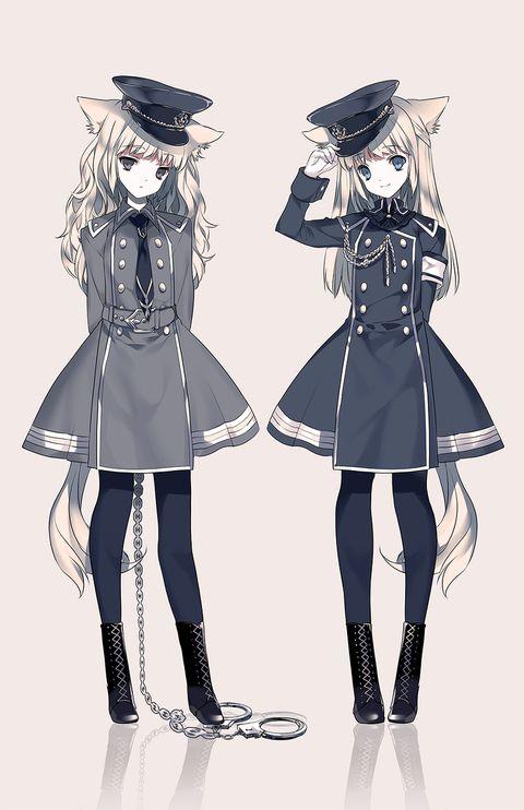 獣耳軍服ワンピース双子ちゃん イラスト 参考 可愛い ペア 画 軍服