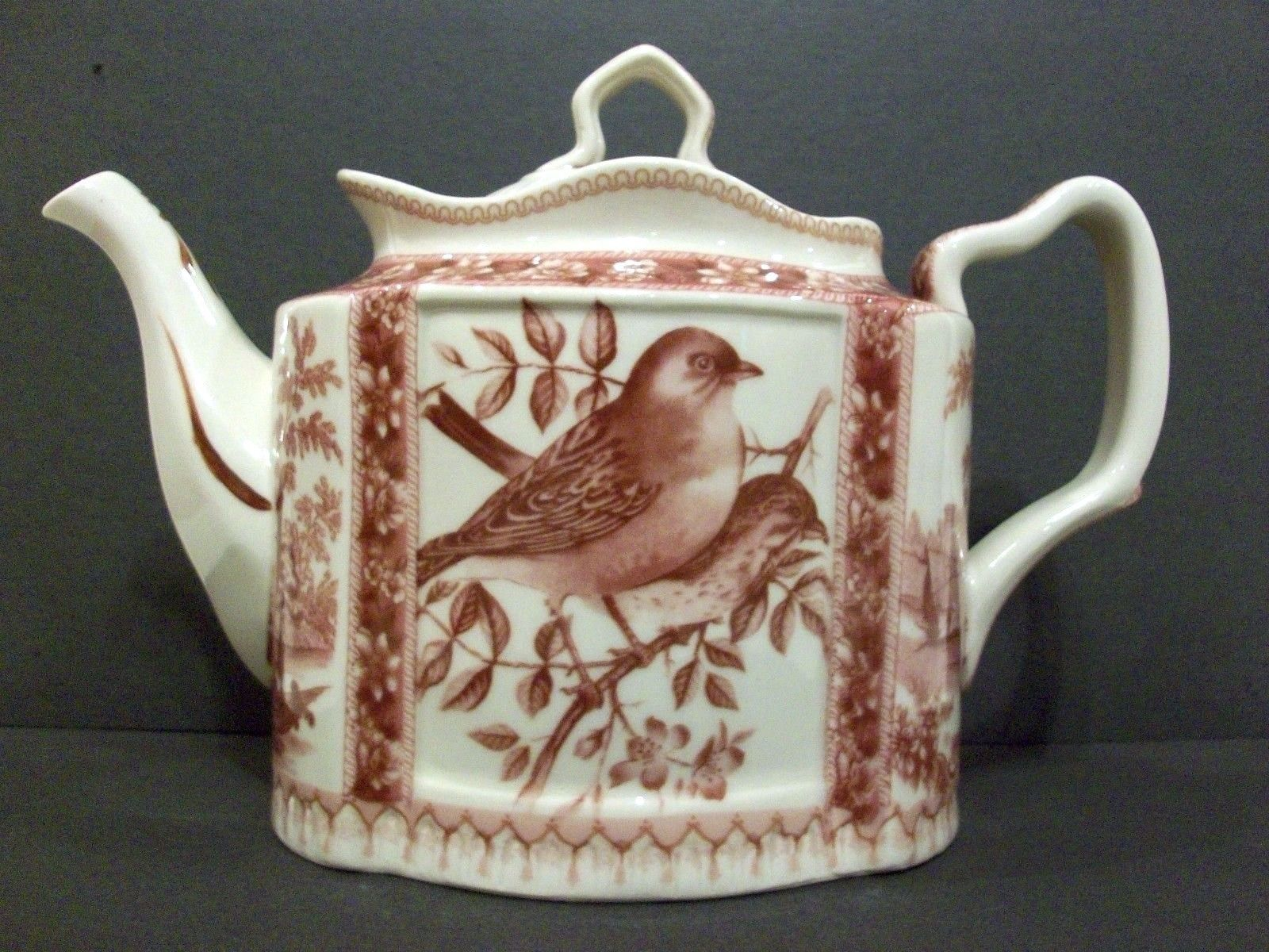 Details about vintage tea pot red and white with bird for Riproduzioni design
