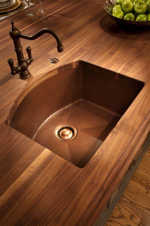 Copper Undermount Prep Sink Bronze Prep Faucet Walnut Wood