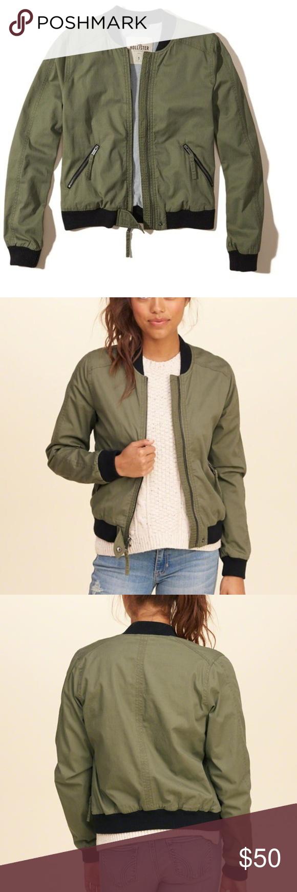 Hollister Olive Green Twill Bomber Jacket M Nwt Bomber Jacket Clothes Design Hollister Jackets [ 1740 x 580 Pixel ]