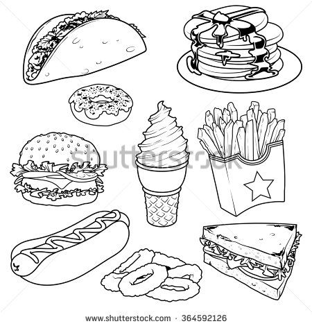 Set Of Cartoon Fast Food Icons Vector Icons Set On A White Background Tacos Pancake Donuts French Fries Hamburger Icon Set Vector Fast Food Food Icons