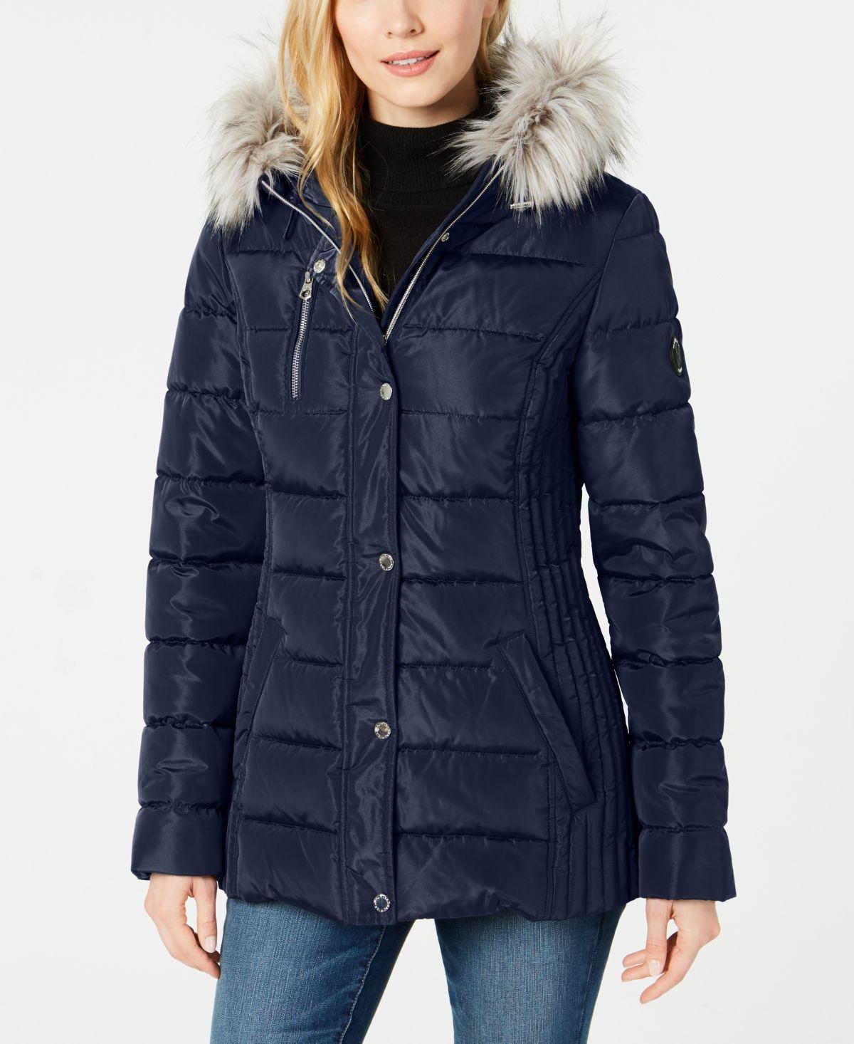 Nautica Hooded Faux Fur Trim Puffer Coat Navy Seas Coats For Women Zip Coat Hooded Faux [ 1466 x 1200 Pixel ]