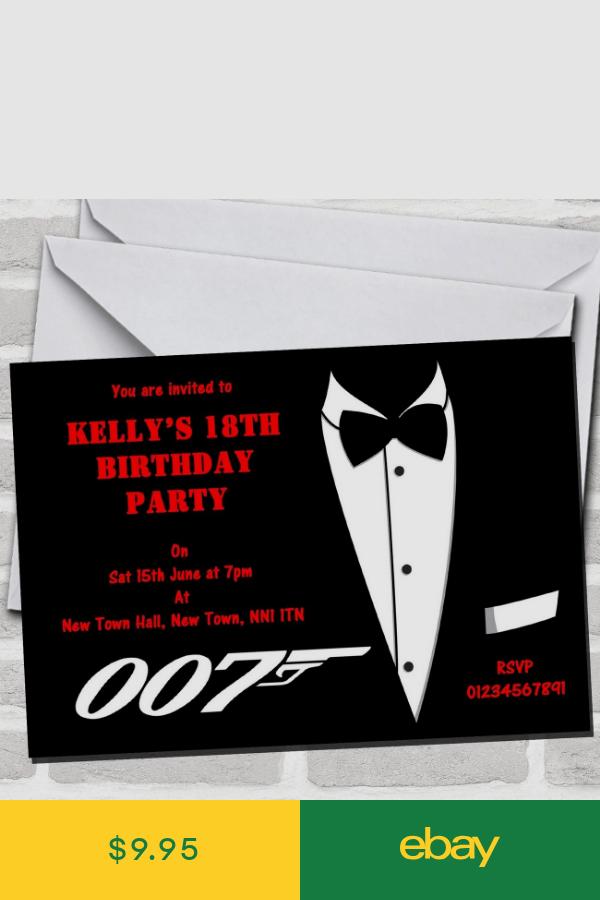 James Bond Theme Party Invitations James Bond Theme Party James Bond Party James Bond Party Invitation