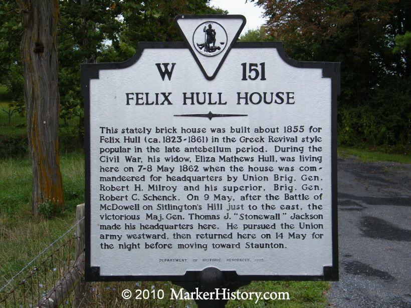 Felix Hull House W-151 | Marker History