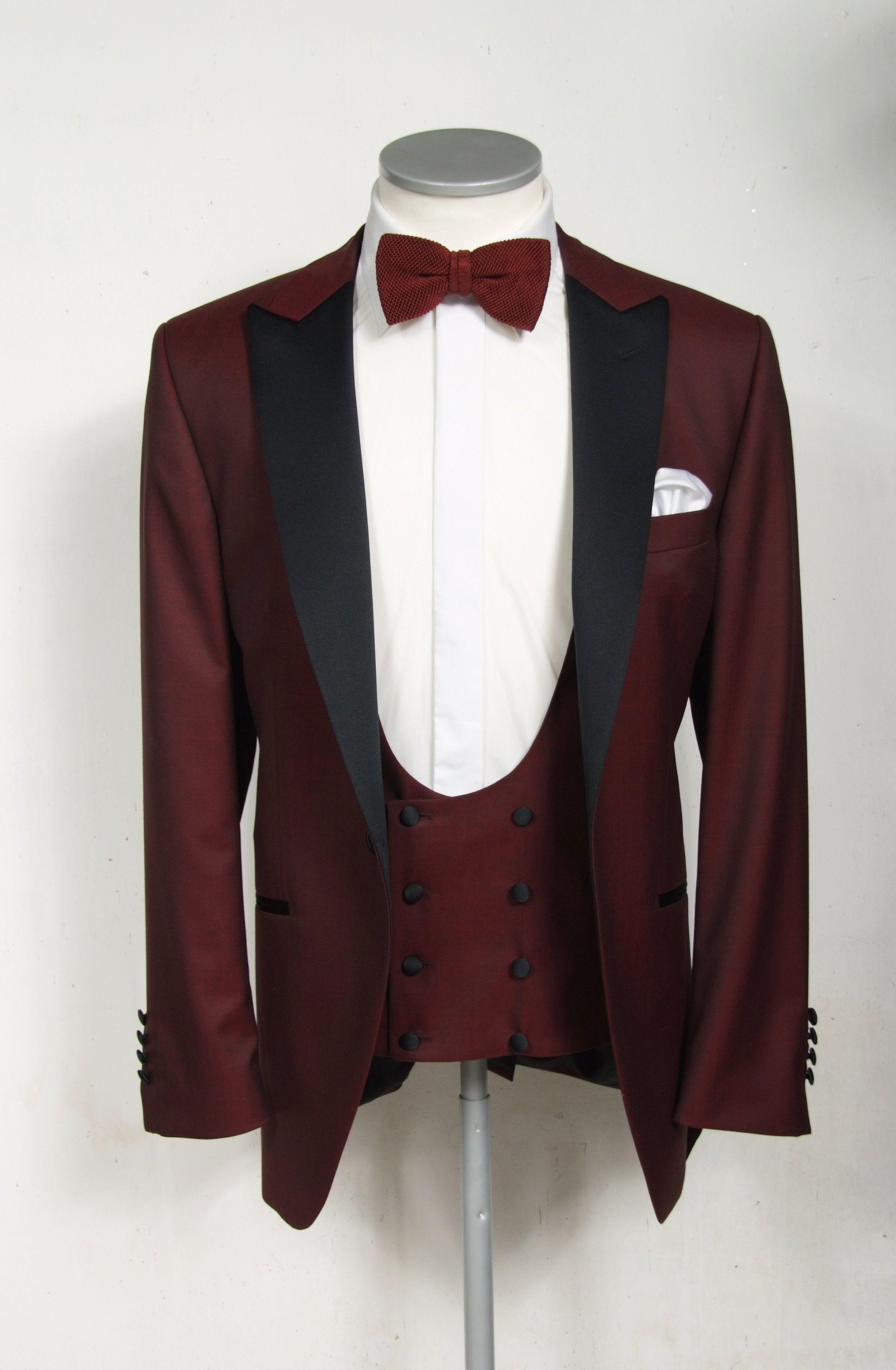 Burgundy dinner suit made to measure Groom tuxedo black