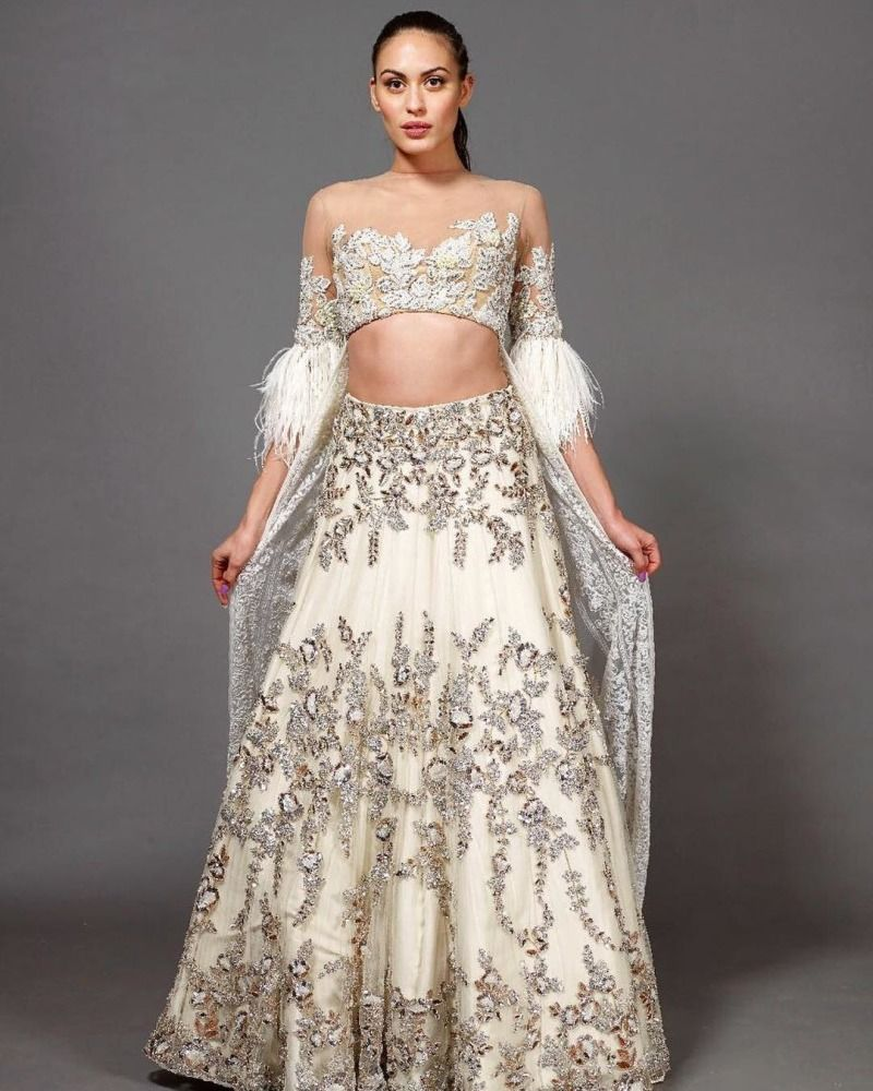 Image result for feather lehenga