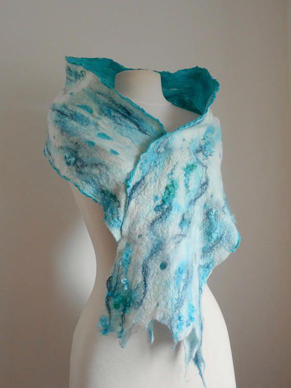 60% de descuento nueva productos calientes vanguardia de los tiempos Nuno felted scarf Nuno felt scarf Wool felted scarf Artisan ...