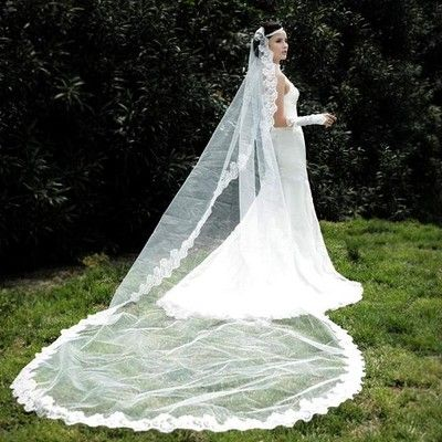 Elegant White Ivory Classical Chapel Wedding Bridal Veil Lace Edge Long TS006 | eBay