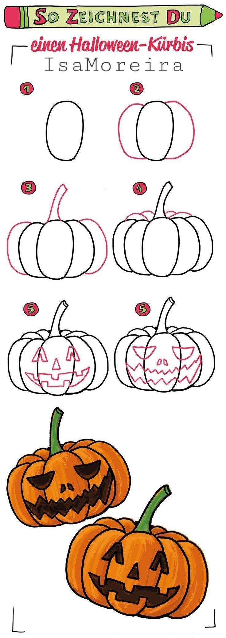 Decorações de Halloween🕸🕷 Pumpkin drawing, Halloween doodle