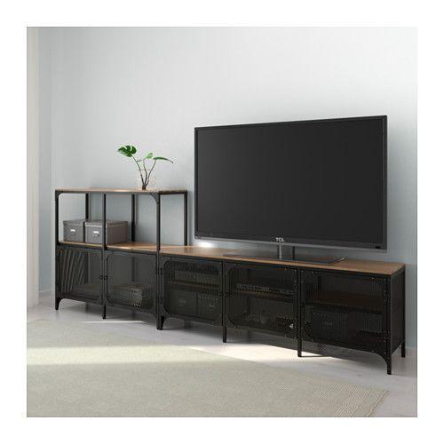 fjllbo tv storage combination black ikea tvmeuble - Meuble Tv Vintage Ikea