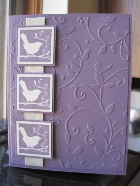 Handmade Card Monochromatic Violet Embossing Folder