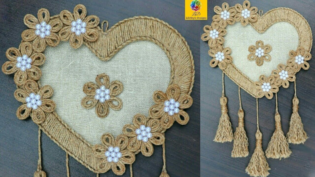 Diy Heart Shaped Wall Hanging With Jute Rope Wall Decor Showpiece Maki Jute Crafts Wall Hanging Crafts Rope Crafts