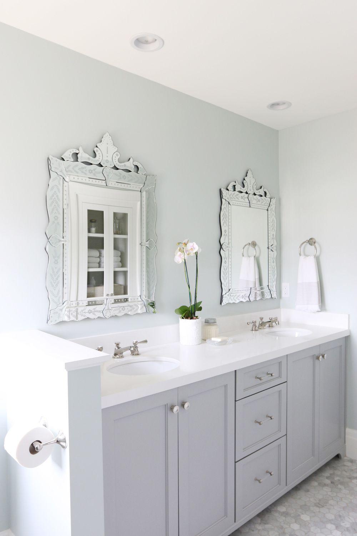 Sea Salt (Sherwin Williams) used in a beautiful guest bathroom in ...