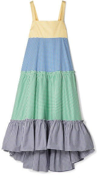Dirndl Dress Nyc Mds Stripes Tiered Gingham Cotton Poplin Maxi Dress