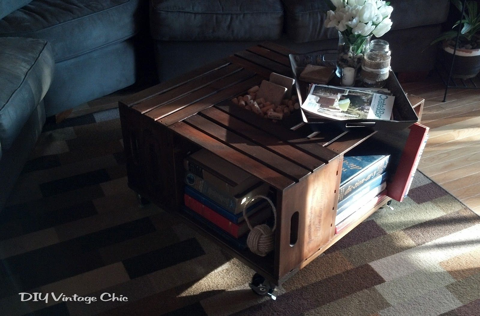 Diy vintage chic vintage wine crate coffee table cool ideas