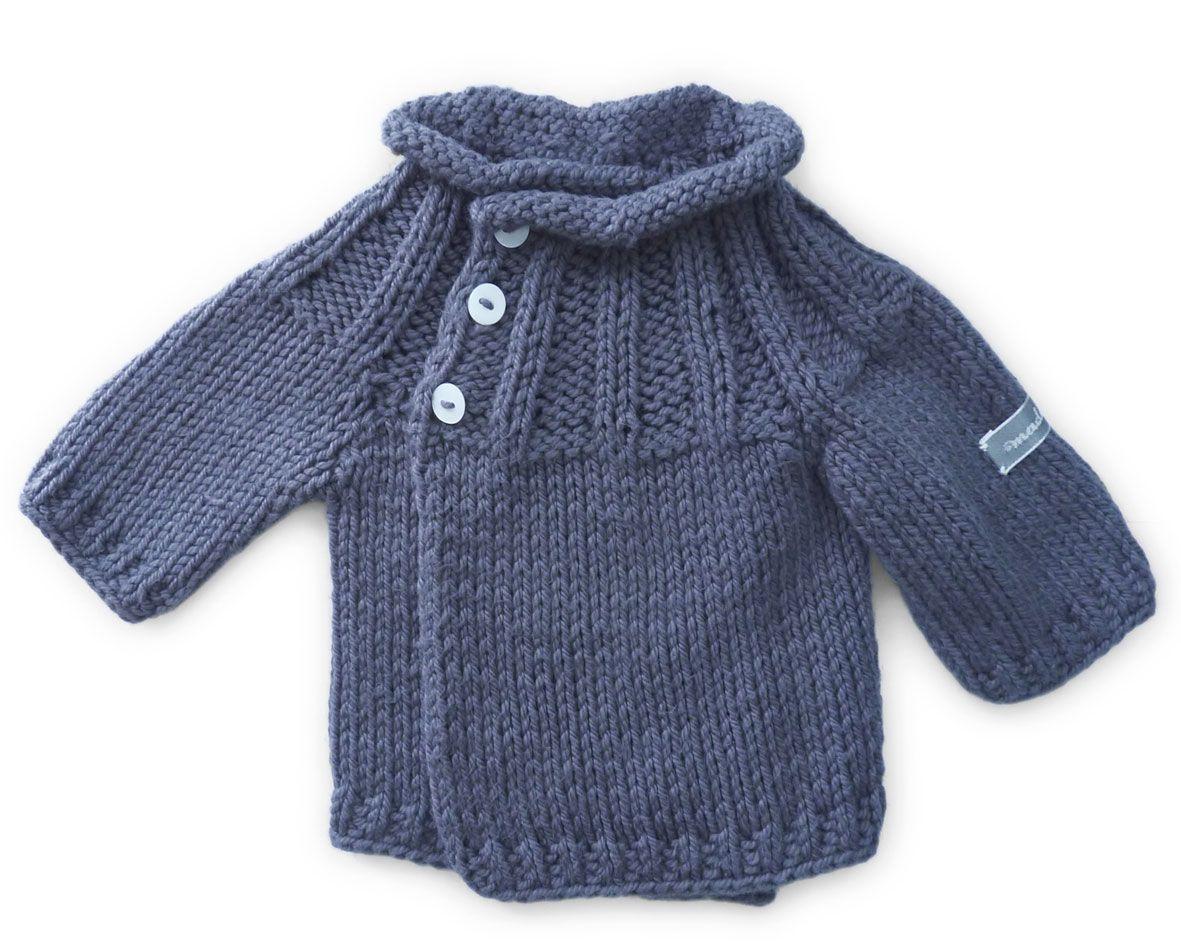 baby jacke aus 100 baumwolle vorne gekreuzt zum selber stricken f r das neugeborene. Black Bedroom Furniture Sets. Home Design Ideas