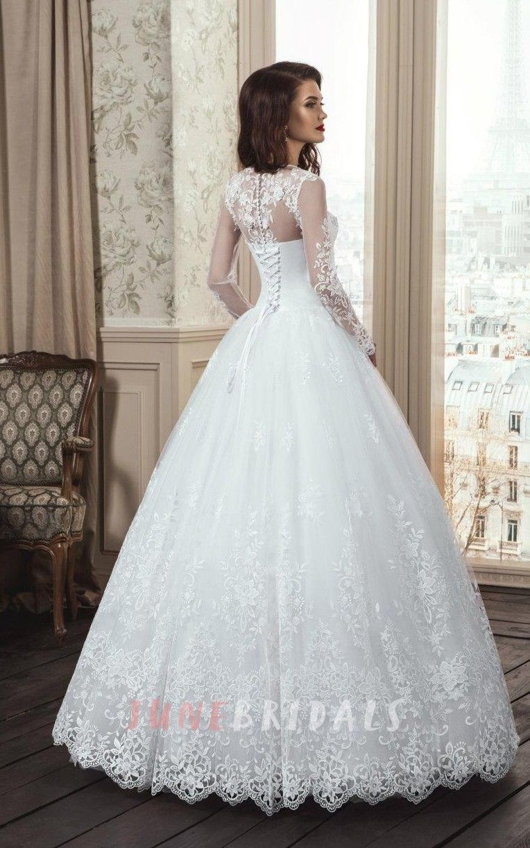 Aline long sleeve tulle lace dress with flower illusion laceup