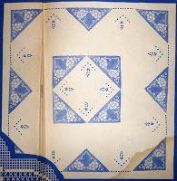 """Da revista """"Vénus"""" nº 19, mais uma toalha com triângulos de renda e bordados.      manela"""