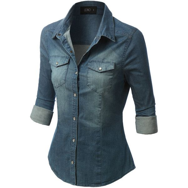 3f065c0d67 LE3NO Womens Long Sleeve Chambray Denim Shirt ( 28) ❤ liked on Polyvore  featuring tops
