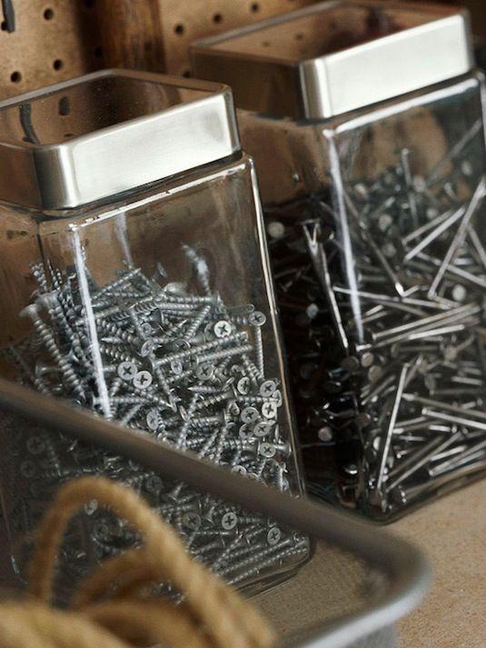 28 Brilliant Garage Organization Ideas | Repurpose kitchen containers in the gar…