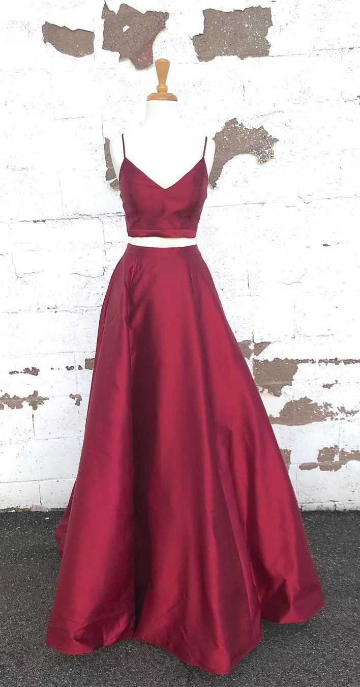 simply straps two piece burgundy long prom dress prom dress