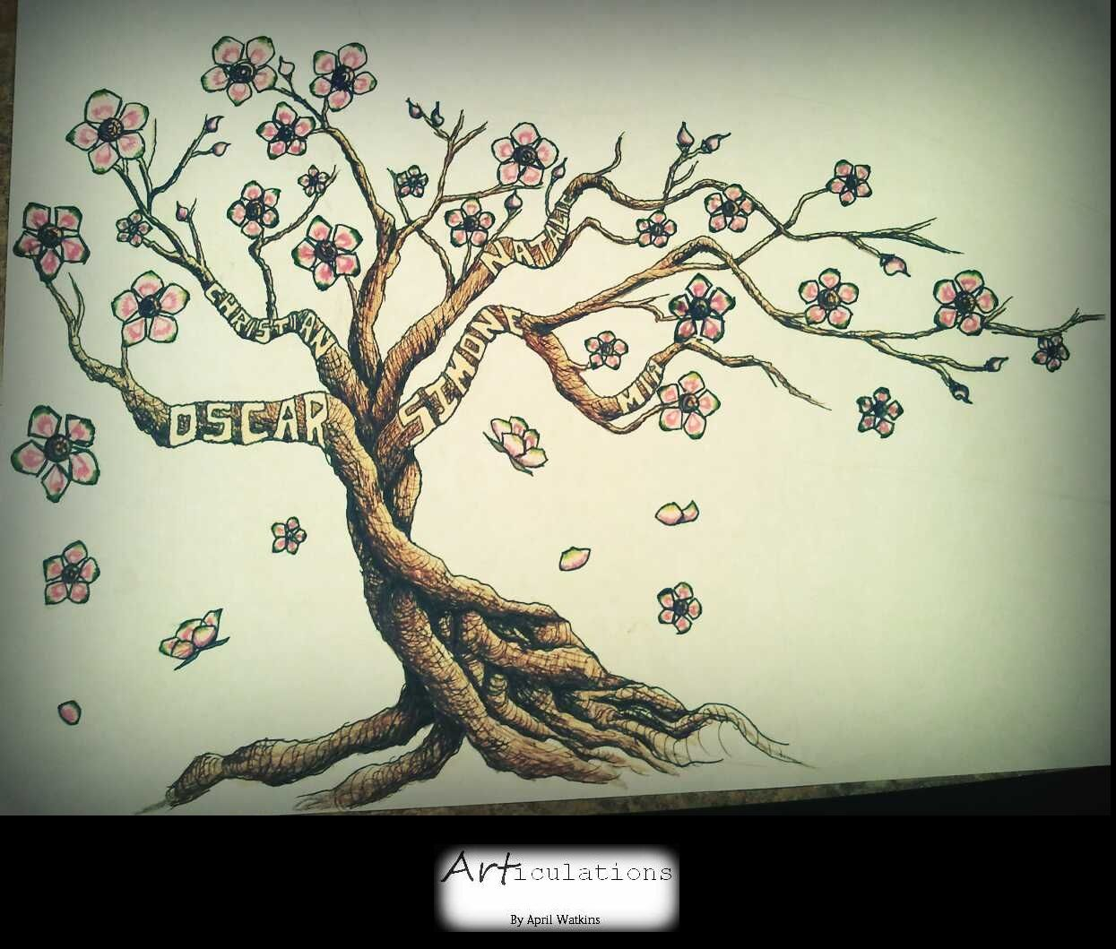 A Requested Tattoo Design With Family Member Names 2011 Family Tree Tattoo Tree Tattoo Foot Tree Tattoo