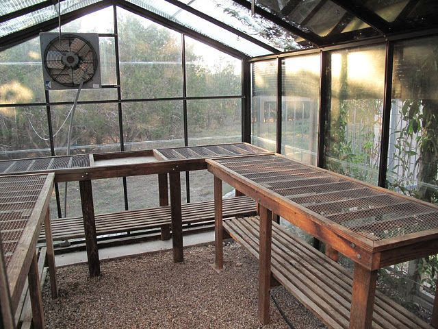 Green house tables barn exterior pinterest green for Inexpensive greenhouse shelving wood