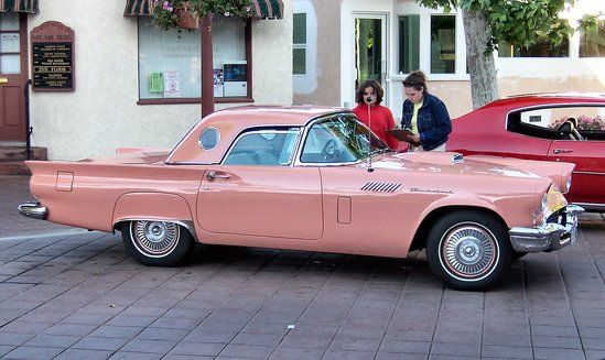 "1957 Ford Thunderbird    Pink and charcoal grey were the ""in"" colors back then,,…"