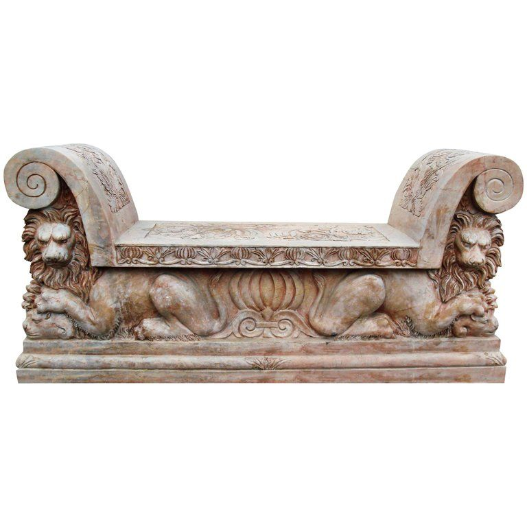Italian Lions Hand Carved Red Verona Marble Bank in 2019