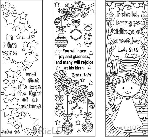 9 christmas coloring bookmarks 6 designs with bible for Read and share bible coloring pages