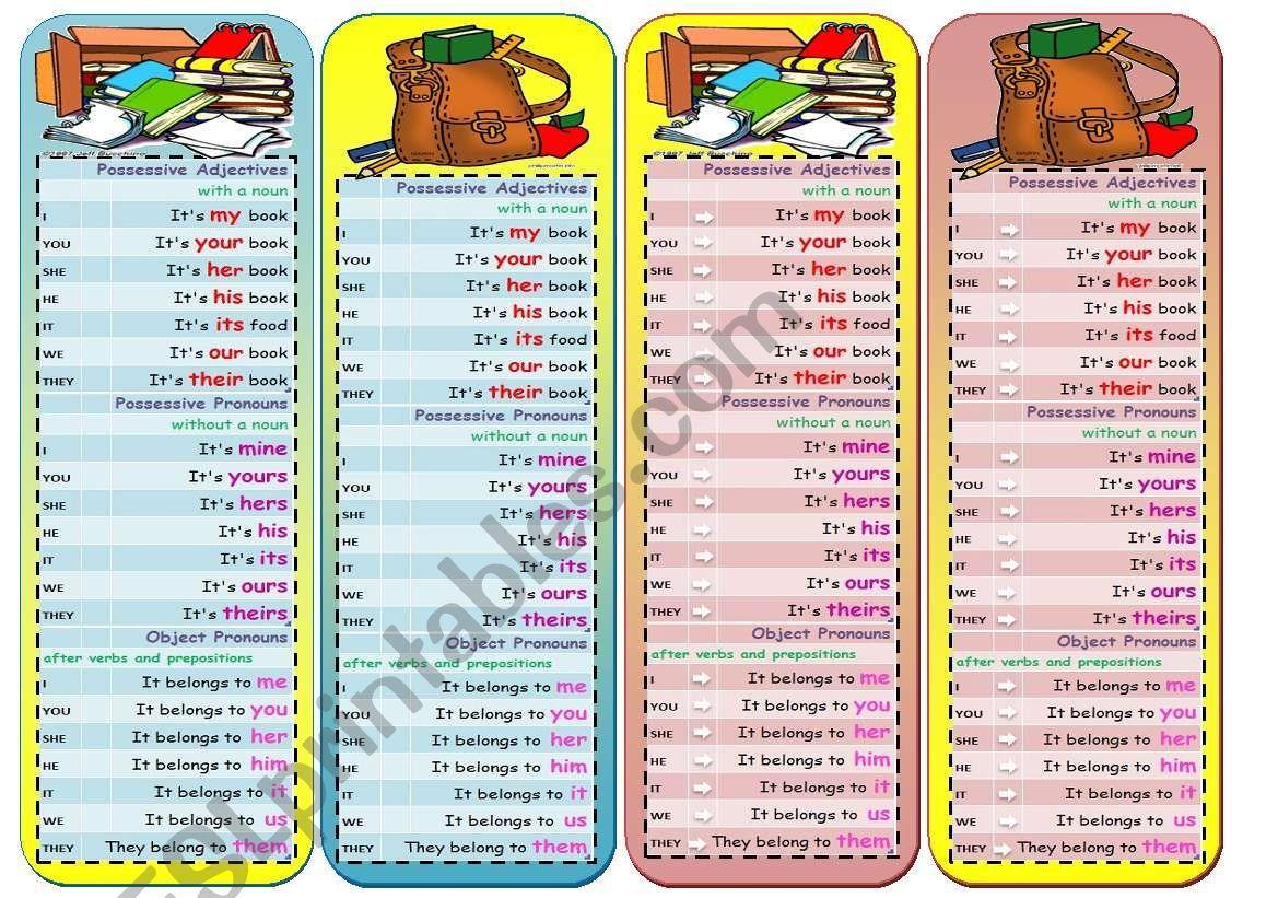 Bookmarks To Help Memorize Possessive Adjectives