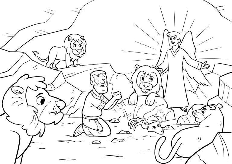 Daniel And The Lions Den Coloring Page Daniel And The Lions Den
