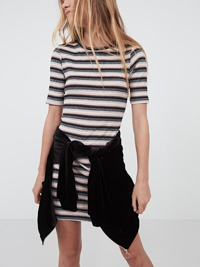 b9d8f3cb9e26 PINK LUREX STRIPE TSHIRT #DRESS Check Mini Skirt, Striped T Shirt Dress,  Going