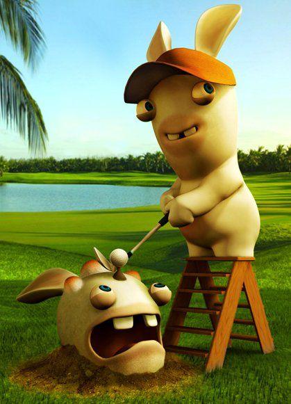 Les lapins crétins jouent au golf  Rabbits play golf