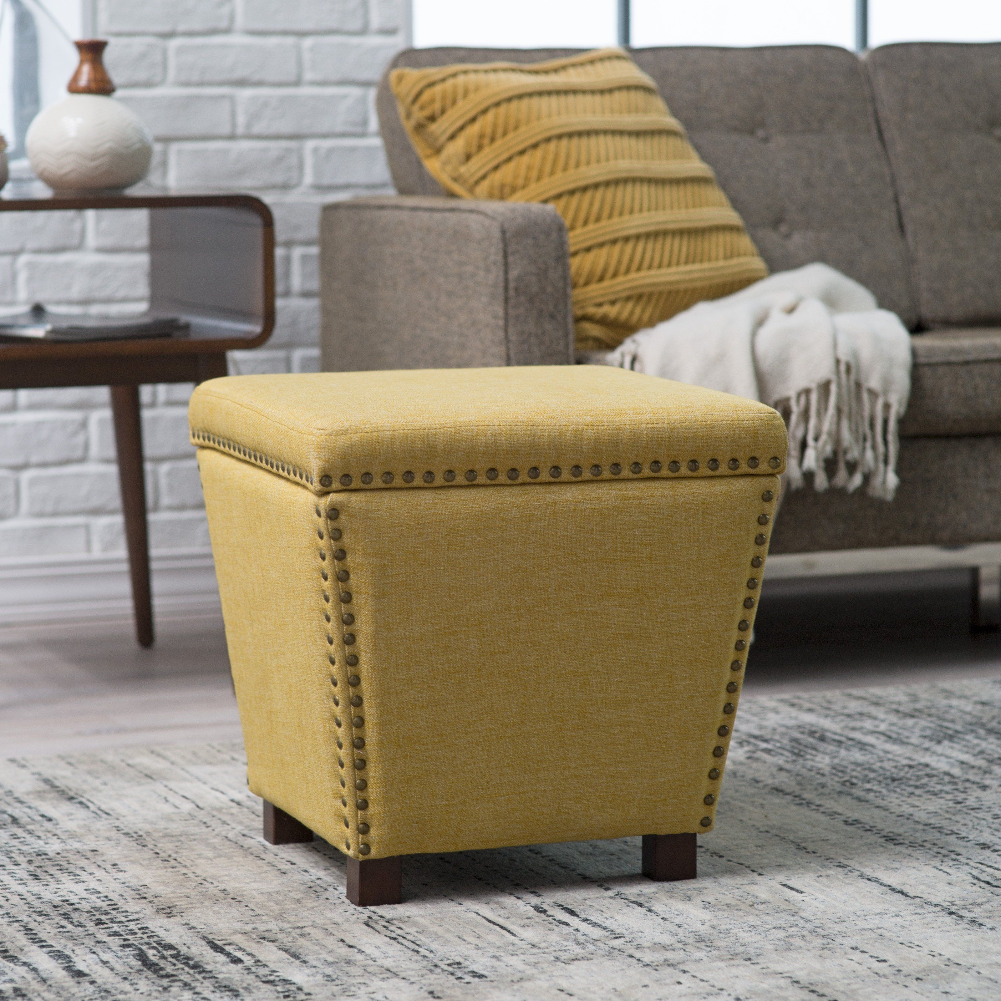 Cool Belham Living Noelle Storage Ottoman With Nailheads From Gmtry Best Dining Table And Chair Ideas Images Gmtryco