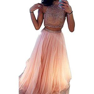 65f41e8c5d7 Lovelybride Charming Halter 2 Piece Beaded Tulle Prom Dress Long Evening  Party Gown