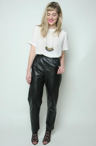 Amazing Black Leather Track Pants (28 inch waist) Was $110 // Now $68