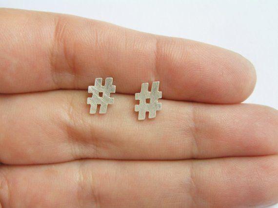 925 Sterling Silver Hashtag Stud Earrings