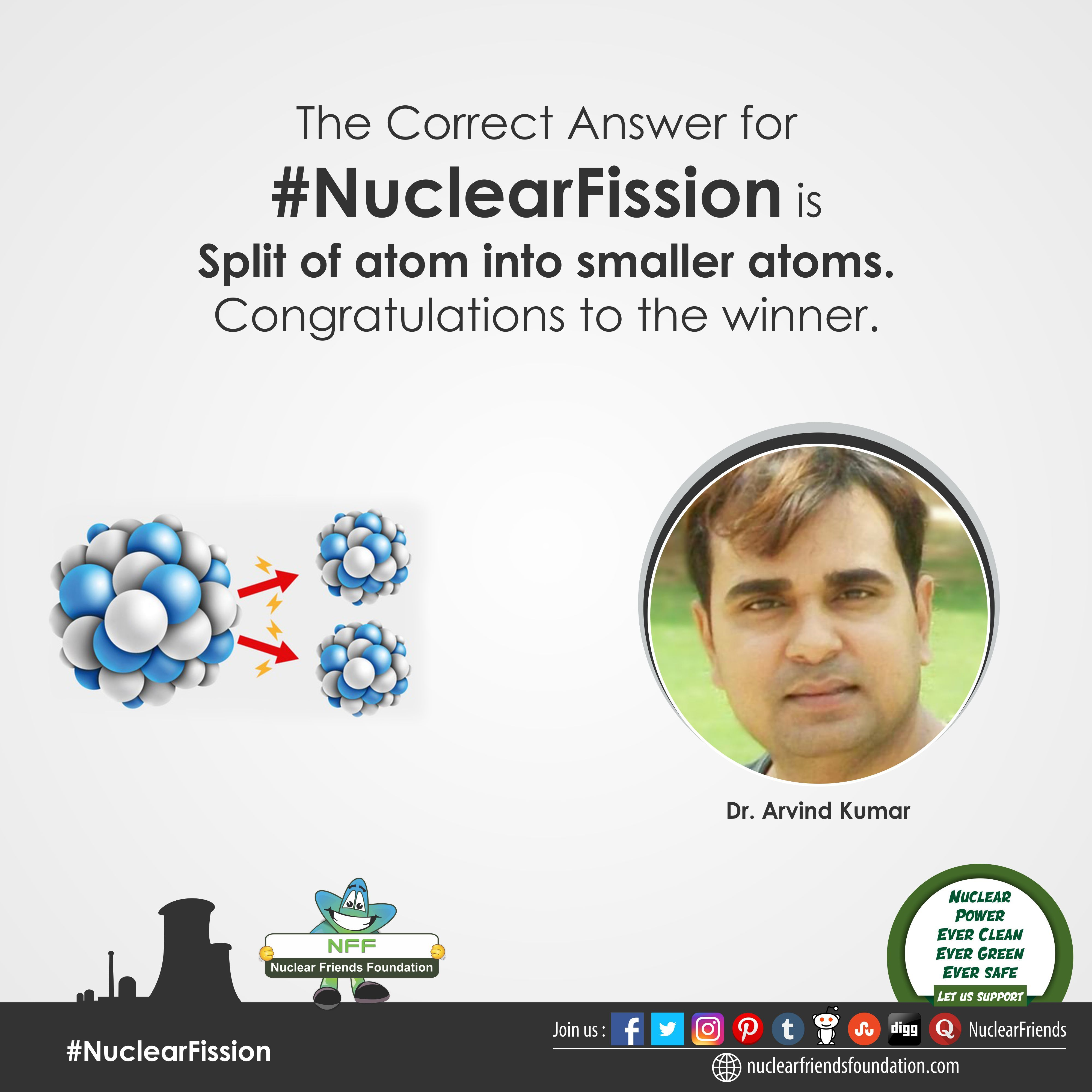 Contest The Correct Answer For Nuclearfission Is Split Of Atom Into Smaller Atoms Congratulations To The Winne Nuclear Energy Nuclear Power Renewable Energy