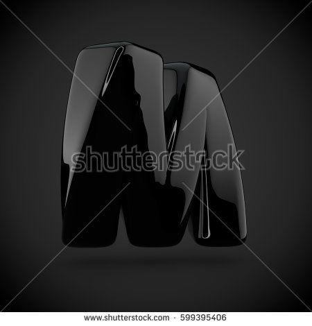 Glossy Black Paint Letter M Uppercase On Dark Background 3d Render