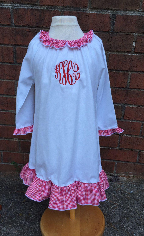 girls monogrammed christmas nightgown girls personalized christmas night gown toddler personalized monogrammed pajamas - Girls Christmas Nightgowns