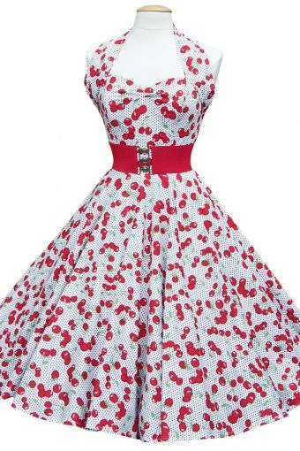 fc9bd59bbd6642 50s Retro Jurken halter Cherry White polka dots swing dress