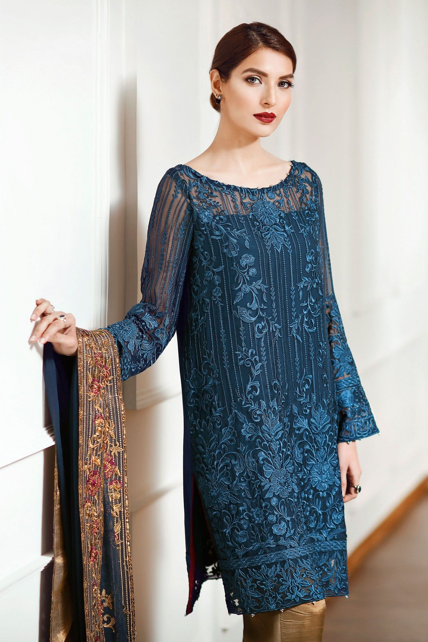 Fashion week Lace Latest and chiffon dresses collection pictures for girls